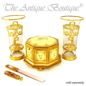 Antique French Napoleon III Empire Cut Crystal & Gilt Bronze Writing Desk Set, Wax Seal & Page Turner