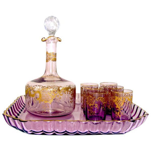 Antique French Saint Louis Crystal Rare Purple Color Gilded Liquor Set: Decanter, Cordial Glasses & Tray
