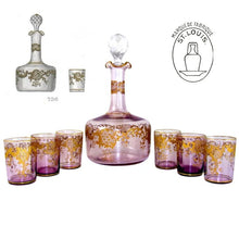 Load image into Gallery viewer, Antique French Saint Louis Crystal Rare Purple Color Gilded Liquor Set: Decanter, Cordial Glasses & Tray