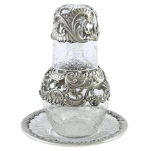 Antique French Sterling Silver Cut Crystal Bedside Carafe Set, Tumble Up, Tray