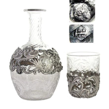 Load image into Gallery viewer, Antique French sterling silver cut glass water carafe nightstand tumble up