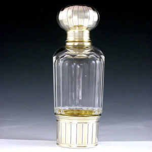 Antique French Sterling Silver Cut Glass Flask