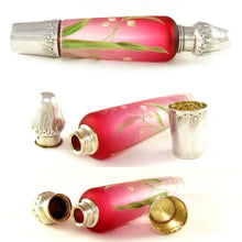 Antique French Sterling Silver Enamel & Pink Glass Flask