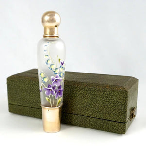 Antique French Sterling Silver Glass Flask in Box, Enamel Flowers