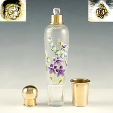 Load image into Gallery viewer, Antique French Sterling Silver Glass Flask in Box, Enamel Flowers