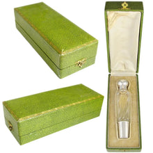 Antique French Sterling Silver Gilt Vermeil Cut Crystal Flask, Original Box
