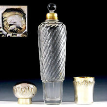 Antique French Sterling Silver Spiral Fluted Cut Glass Flask