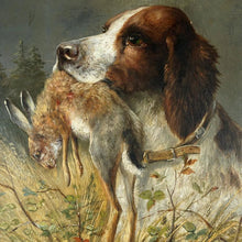 Load image into Gallery viewer, Antique German Hunting Scene Painting Moritz Müller (1841-1899) Spaniel Dog & Rabbit