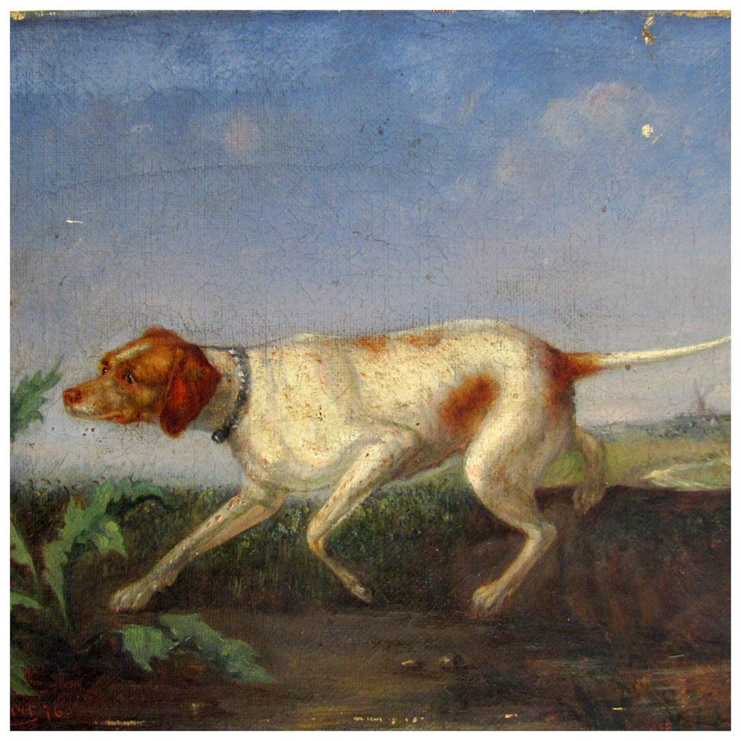 Antique Signed European Painting Hunting Dog & Thistle, Dated 1876