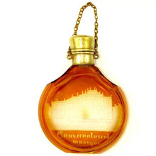 Antique Bohemian Glass Cut to Clear Engraved Perfume Bottle Chatelaine