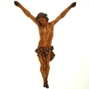 Antique Hand Carved Wood Corpus Christi Jesus Christ Sculpture Figure
