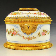 Antique French Hand Painted Opaline Glass Jewelry Casket Box