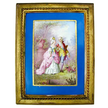 Antique French Hand Painted Porcelain Portrait Plaque Sevres Style