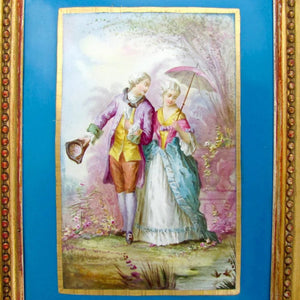 Antique French Hand Painted Porcelain Portrait Plaque Courting Couple, Celeste Blue, Deforge Carpentier Gilt Frame