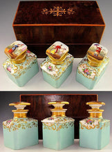 Antique French Tea Caddy Box, Old Paris Porcelain Bottles