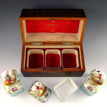 Load image into Gallery viewer, Antique French Tea Caddy Box, Old Paris Porcelain Bottles