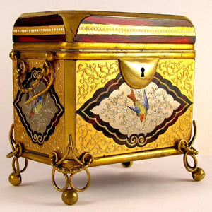 Antique Moser Gilt Enamel Ruby Glass Casket / Box, Birds! Bronze Mounts