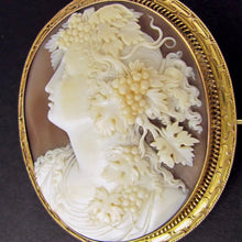 Load image into Gallery viewer, Antique Victorian Cameo Brooch Sardonyx Shell 14k Yellow Gold