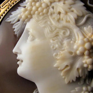 Antique Victorian Cameo Brooch Sardonyx Shell 14k Yellow Gold, Bacchante Lady, Large Size