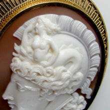 Load image into Gallery viewer, Warrior Goddess Athena Helmet Detail Carved Shell Cameo Antique
