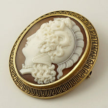18K Gold Antique Victorian Cameo Brooch Pendant Etruscan Revival