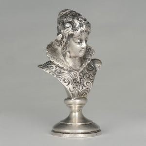 Antique Austrian Solid Silver Wax Seal Desk Stamp Austro-Hungarian Renaissance Lady Bust Sculptural Figure