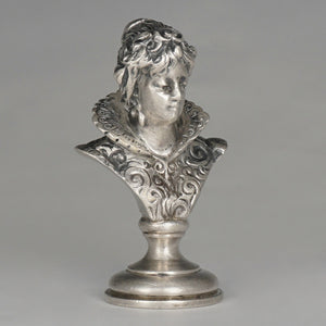 Antique Austrian Solid Silver Wax Seal, Austro-Hungarian Desk Stamp Renaissance Lady Bust Sculpture Figure