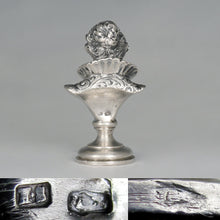 Load image into Gallery viewer, Antique Austrian Solid Silver Wax Seal, Austro-Hungarian Desk Stamp Renaissance Lady Bust Sculpture Figure
