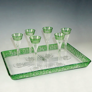 Antique Baccarat Cut Crystal Stemware Set, Rare Empire Pattern