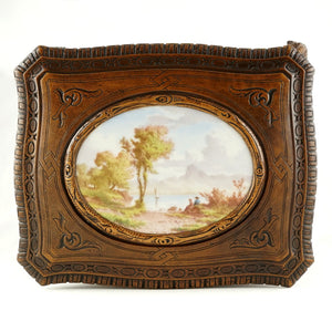 Antique Black Forest Carved Wood Cigar Caddy, Box, Porcelain Portrait Plaque
