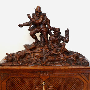 Antique Black Forest Carved Wood Chest, Hunting Theme