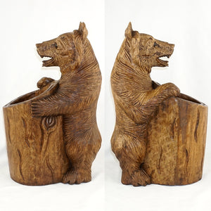 "Large 18"" Tall Black Forest Style Carved Wood Bear"