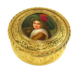 Antique Gilt Bronze Jewelry Box Hutschenreuther Porcelain Portrait