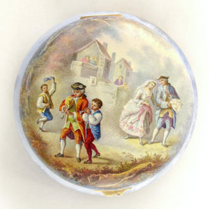 Antique French 800 Silver Gilt Vermeil Viennese Enamel Snuff Box Wedding Scene