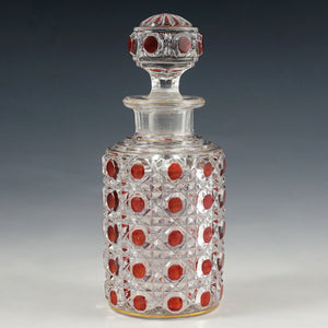 Vintage Glass Perfume Cologne Bottle, Cranberry Hobnail & Diamond Pattern
