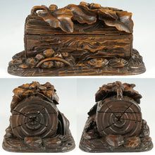 Load image into Gallery viewer, Antique Black Forest Hand Carved Wood Figural Jewelry Box, Lock & Key
