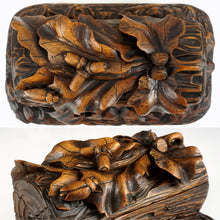 Antique Black Forest Hand Carved Wood Figural Jewelry Box, Lock & Key
