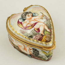 Load image into Gallery viewer, Heart Shaped Capodimonte Porcelain Style Jewelry Trinket Box, Hand Painted Cherubs