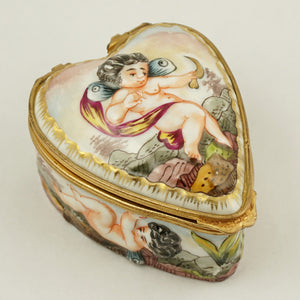 Heart Shaped Capodimonte Porcelain Style Jewelry Trinket Box, Hand Painted Cherubs