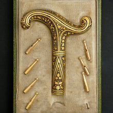 Load image into Gallery viewer, Antique Spanish Toledo Damascene Gold Parasol Umbrella Handle, Dress Cane, Boxed