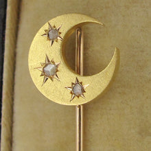 Load image into Gallery viewer, 18k yellow gold crescent moon shaped brooch pin, cut diamonds , moon & stars