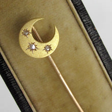 18k yellow gold French antique Victorian brooch pin moon & stars, natural cut diamonds, crescent moon shape