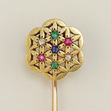 Load image into Gallery viewer, French 18K Yellow Gold Stick Pin Brooch Diamond Ruby Emerald Sapphire