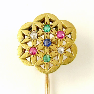 French 18K Yellow Gold Stick Pin Brooch Diamond Ruby Emerald Sapphire