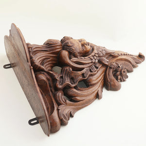 Large Antique French Carved Wood Cherub Sculpture Wall Shelf Bracket