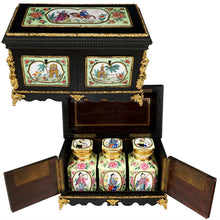 Load image into Gallery viewer, Antique French Chinoiserie Tea Caddy, Porcelaine de Paris Canisters