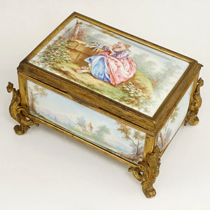 Antique French Enamel Gilt Bronze Jewelry Box