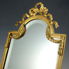 Large Antique French Gilt Bronze Mirror, Neoclassical Decoration, Thick Beveled Glass, Easel Back, Vanity or Dresser Table Top