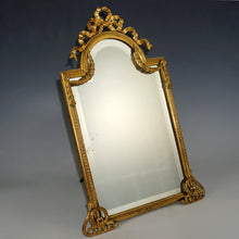 Load image into Gallery viewer, Large Antique French Gilt Bronze Mirror, Neoclassical Decoration, Thick Beveled Glass, Easel Back, Vanity or Dresser Table Top