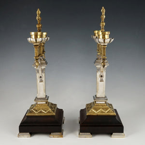Pair of Antique Gothic Bronze Candelabras